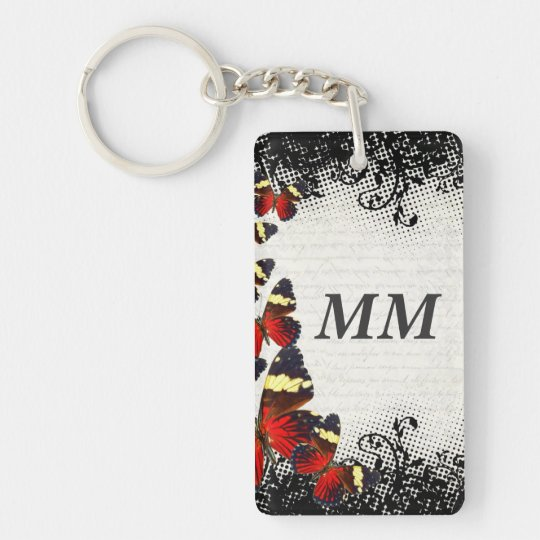 Red butterflies on black lace keychain