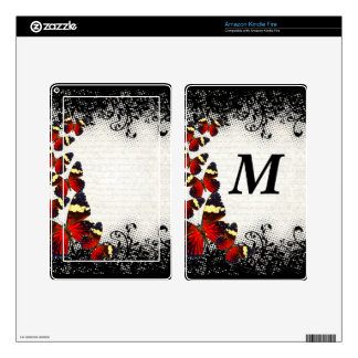 Red butterflies on black lace kindle fire skins