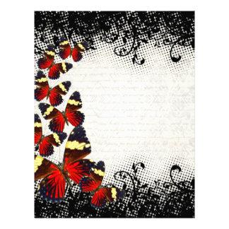 Red butterflies on black lace letterhead