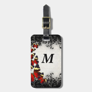 Red butterflies on black lace luggage tag