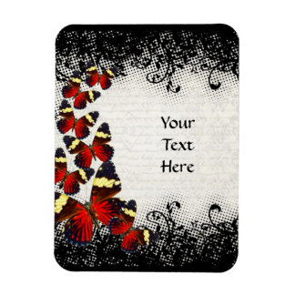 Red butterflies on black lace magnet