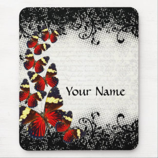 Red butterflies on black lace mouse pad