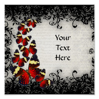 Red butterflies on black lace poster