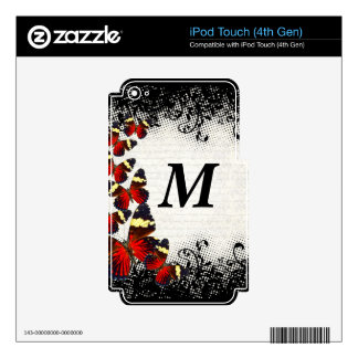 Red butterflies on black lace skins for iPod touch 4G