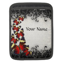 Red butterflies on black lace sleeve for iPads