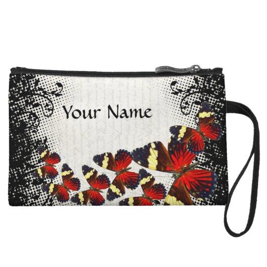 Red butterflies on black lace wristlet wallet
