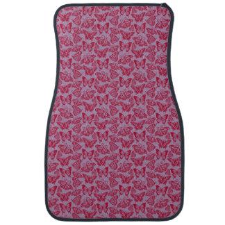 Red Butterflies on Lavender Floor Mat