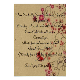 """Red Butterflies on Parchment Paper Wedding Invite 4.5"""" X 6.25"""" Invitation Card"""