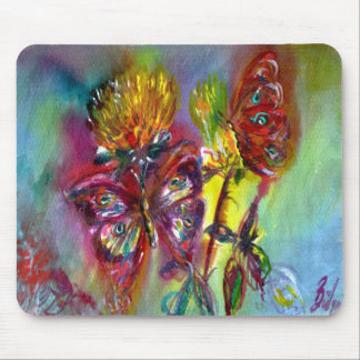 RED BUTTERFLIES ON YELLOW THISTLES,BLUE SKY Floral Mouse Pad