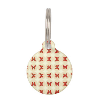 Red butterflies pet ID tag