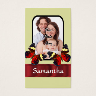 Red butterflies photo template business card