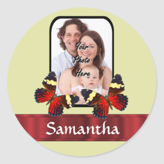 Red butterflies photo template classic round sticker