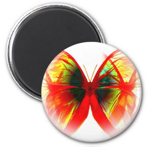 Red Butterfly 2 Inch Round Magnet