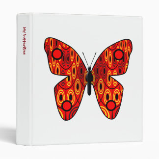 Red butterfly 3 ring binder