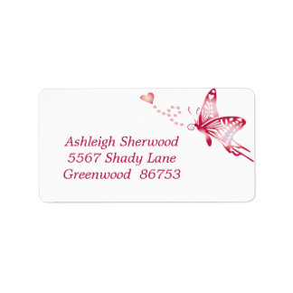 Red Butterfly Address Label