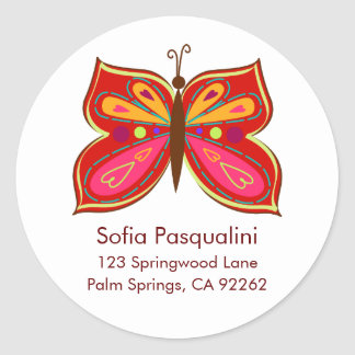 Red Butterfly Address Labels Classic Round Sticker