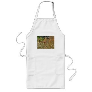 RED BUTTERFLY AMONG SPRING WILD FLOWERS LONG APRON
