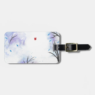 Red Butterfly Blue Forest Bag Tag