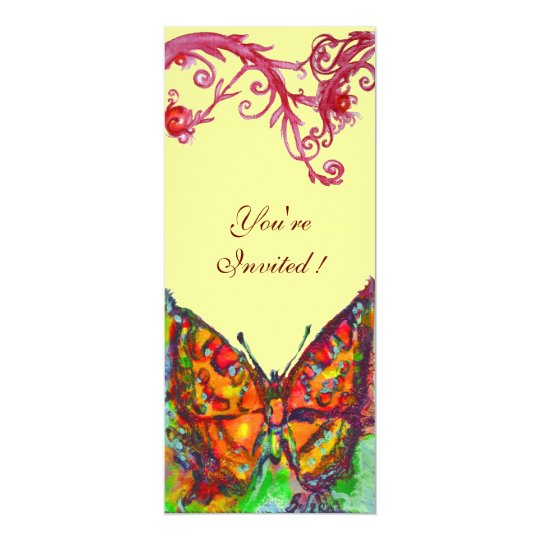 RED BUTTERFLY , bright yellow black Card