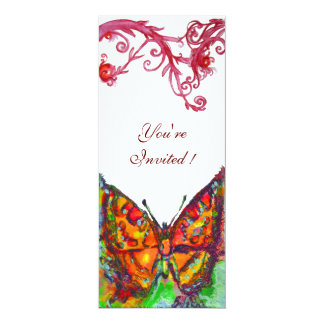 RED BUTTERFLY  , bright yellow  blue white Card