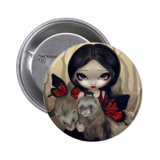 """Red Butterfly Ferrets"" Button"
