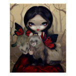 Red Butterfly Ferrets gothic fairy Art Print