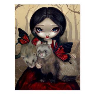 """Red Butterfly Ferrets"" Postcard"
