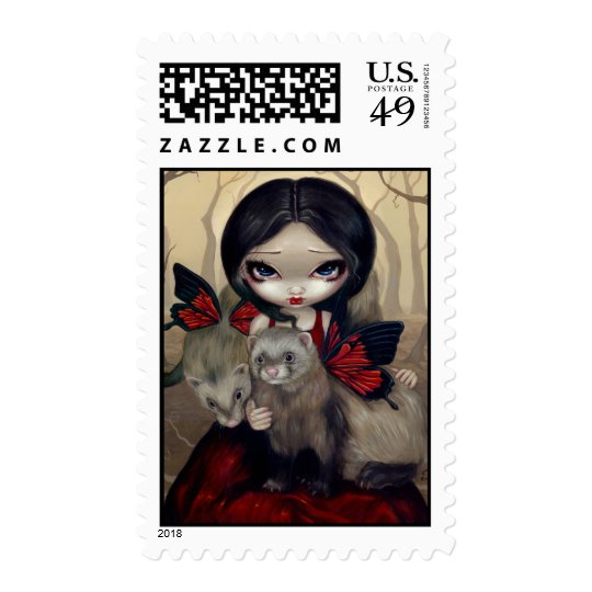 """""""Red Butterfly Ferrets"""" Stamp"""