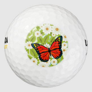 Red butterfly golf balls
