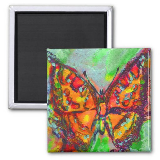 RED BUTTERFLY IN BLUE GREEN GOLD SPARKLES 2 INCH SQUARE MAGNET