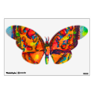 RED BUTTERFLY IN BLUE GREEN GOLD SPARKLES WALL DECAL
