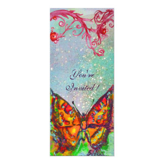 RED BUTTERFLY IN BLUE GREEN TEAL GOLD SPARKLES INVITATION