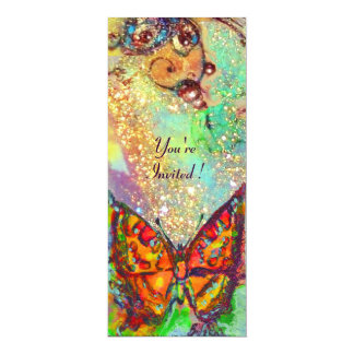 RED BUTTERFLY IN BLUE GREEN TEAL GOLD SPARKLES CUSTOM ANNOUNCEMENTS