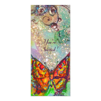 RED BUTTERFLY IN BLUE GREEN TEAL GOLD SPARKLES CUSTOM INVITE