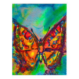 RED BUTTERFLY IN BLUE GREEN TEAL GOLD SPARKLES POSTCARD