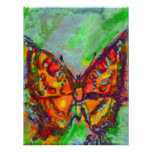 RED BUTTERFLY IN BLUE GREEN TEAL GOLD SPARKLES POSTER