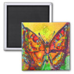 RED BUTTERFLY IN GOLD YELLOW SPARKLES 2 INCH SQUARE MAGNET