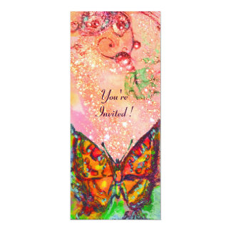 RED BUTTERFLY IN PINK FUCHSIA GOLD SPARKLES CARD