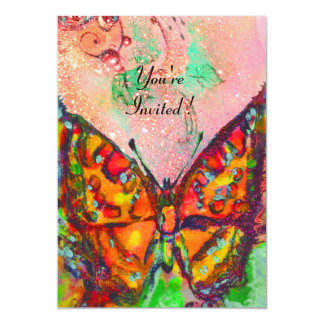 RED BUTTERFLY IN PINK FUCHSIA GOLD SPARKLES PERSONALIZED INVITATION
