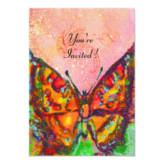 RED BUTTERFLY IN PINK FUCHSIA GOLD SPARKLES PERSONALIZED INVITE