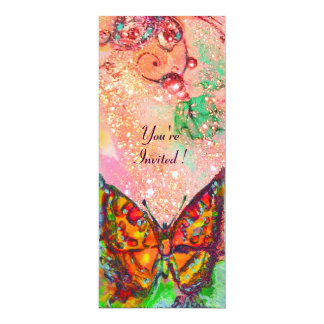 RED BUTTERFLY IN PINK FUCHSIA GOLD SPARKLES PERSONALIZED INVITATIONS