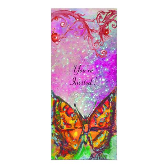 RED BUTTERFLY IN PINK PURPLE GOLD SPARKLES CARD