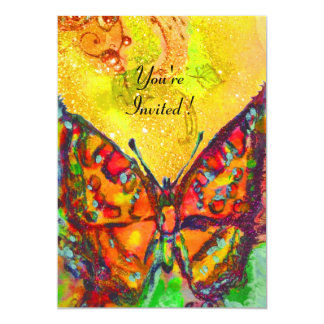 RED BUTTERFLY IN YELLOW BROWN GOLD SPARKLES PERSONALIZED INVITES