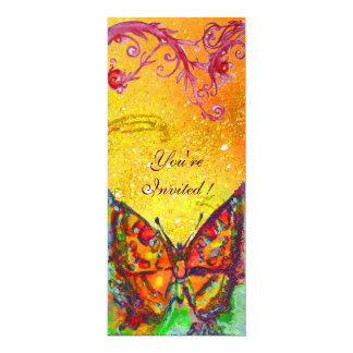RED BUTTERFLY IN YELLOW BROWN GOLD SPARKLES CUSTOM INVITE