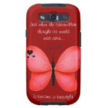 Red Butterfly Motivational Samsung Galaxy Case Galaxy S3 Covers