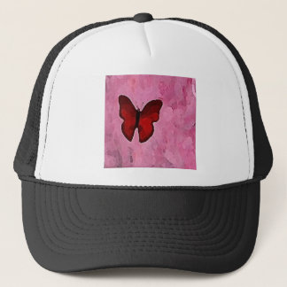 Red Butterfly On A Pink Background Trucker Hat