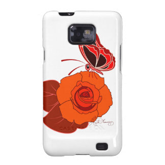 Red Butterfly On a Red Rose Galaxy S2 Covers