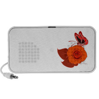Red Butterfly On a Red Rose iPhone Speaker