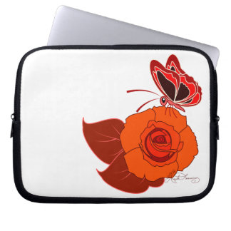 Red Butterfly On a Red Rose Laptop Sleeves