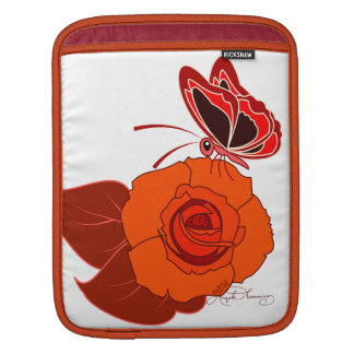 Red Butterfly On a Red Rose Sleeves For iPads